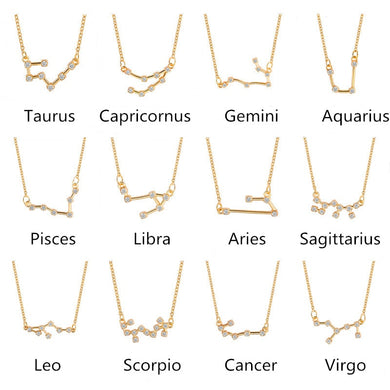 Star Zodiac Sign 12 Constellation Necklaces