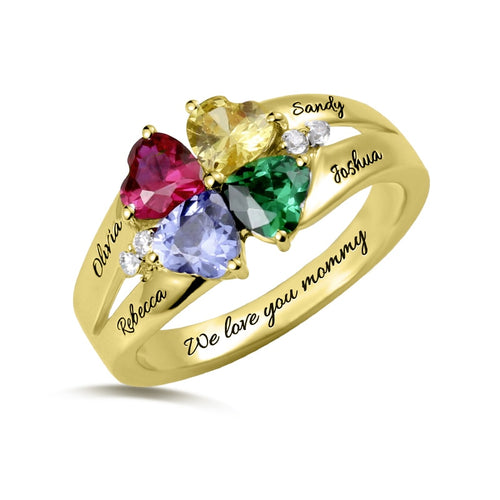 Four Leaf Clover Shape Birthstones Ring