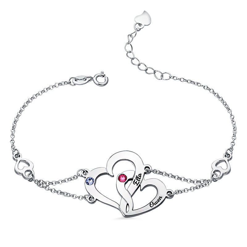 Engraved Two Heart Bracelet