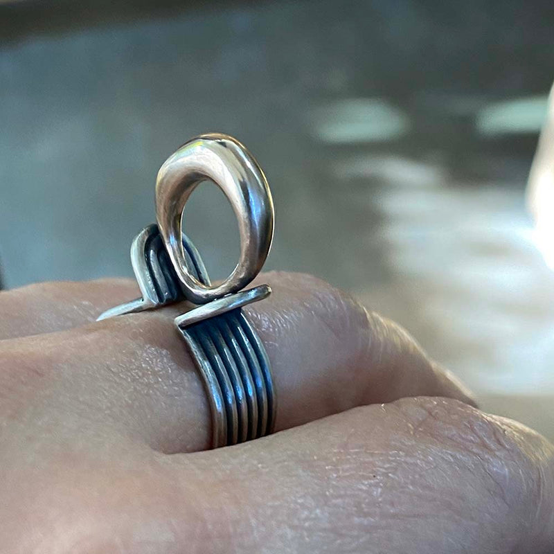 Bimetal Silver and Bronze Ring