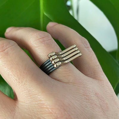 Bimetal Lines Silver and Bronze Ring