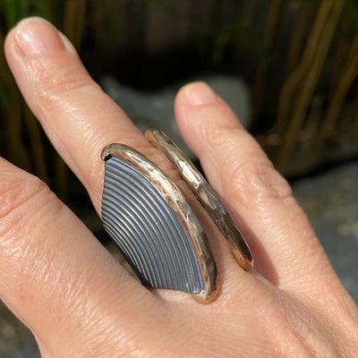 Ripples II Oxidized Silver and Bronze Ring