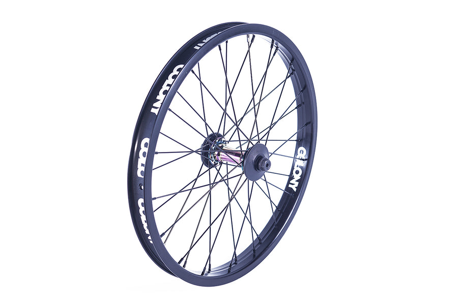 Colony Pintour Front BMX Wheel (Black / Oil Slick)