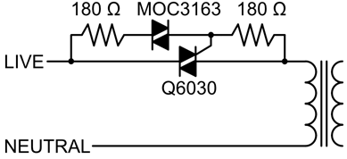 Measuring inrush current of a transformer, schematic