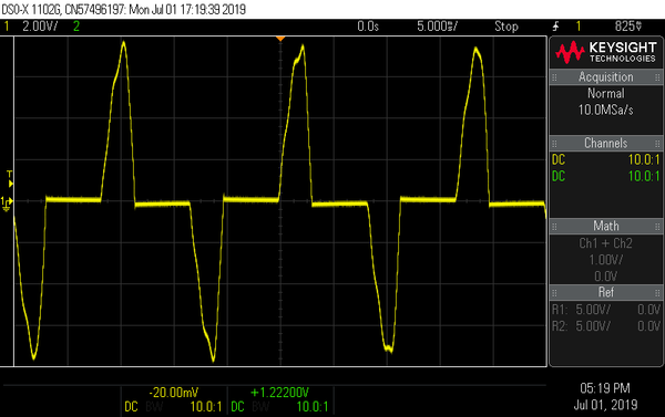 Rectifier charging current in an audio amplifier
