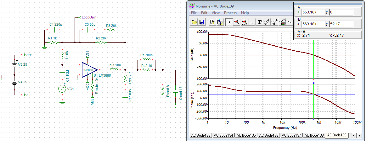 "LM3886 impact of ""optional stability components"""
