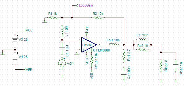 LM3886 with Zobel network
