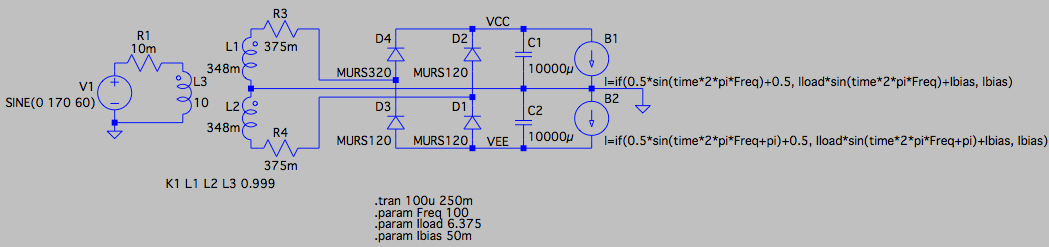 LM3886 power supply simulation schematic