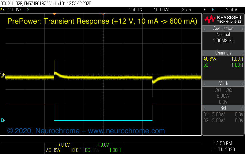 Preamp Power Supply: Transient Response (+12 V)
