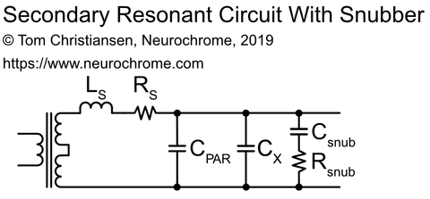 Transformer secondary resonant circuit with parasitics and snubber