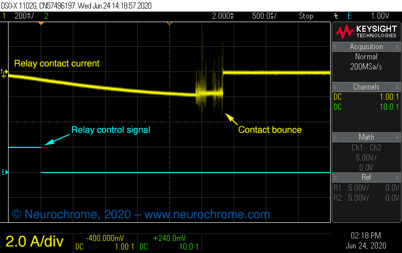 Relay contact bounce / arcing