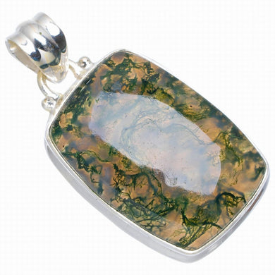 Natural Moss Agate Handmade Unique 925 Sterling Silver Pendant 1.5