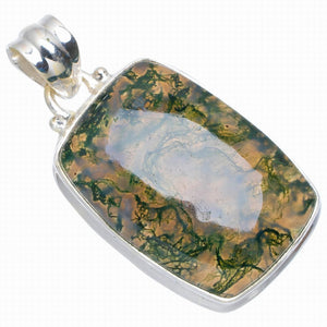 "Natural Moss Agate Handmade Unique 925 Sterling Silver Pendant 1.5"" A0003"
