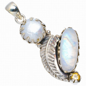 "Natural Rainbow Moonstone,River Pearl and Citrian Handmade Leaf 925 Sterling Silver Pendant 2"" A0013"