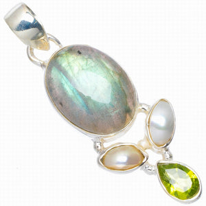 "Natural Blue Fire Labradorite,River Pearl and Peridot 925 Sterling Silver Pendant 1.75"" A0027"