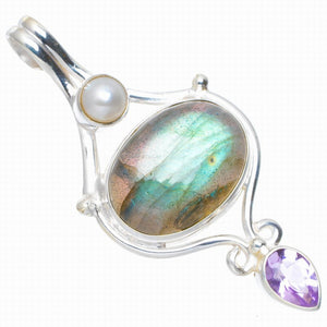 "Natural Blue Fire Labradorite,Amethyst and River Pearl 925 Sterling Silver Pendant 1.75"" A0032"