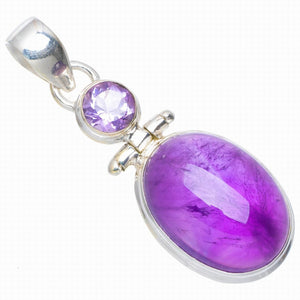 "Natural Amethyst Handmade Unique 925 Sterling Silver Pendant 1.5"" A0036"