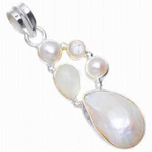 "Natural River Pearl,Cat Eye and Rainbow Moonstone Handmade 925 Sterling Silver Pendant 1.75"" A0053"