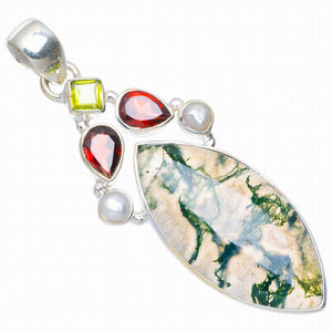 "Natural Moss Agate,River Pearl,Garnet and Peridot Handmade 925 Sterling Silver Pendant 2.25"" A0054"
