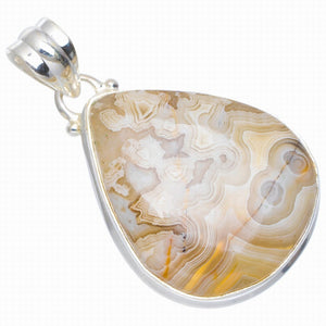"Natural Crazy Lace Agate Handmade Unique 925 Sterling Silver Pendant 1.5"" A0084"