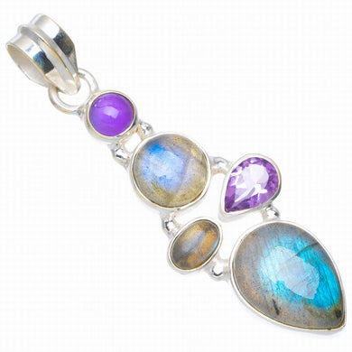 Natural Blue Fire Labradorit and Amethyst Handmade Unique 925 Sterling Silver Pendant 2