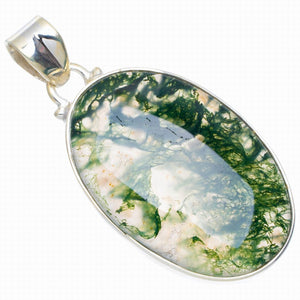 "Natural Moss Agate Handmade Unique 925 Sterling Silver Pendant 1.75"" A0086"