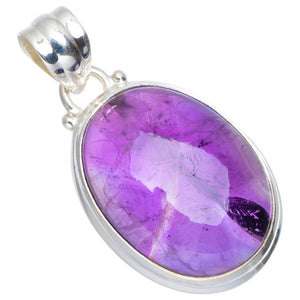 "Natural Amethyst Handmade Unique 925 Sterling Silver Pendant 1.25"" A0191"