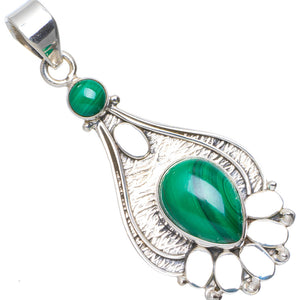 "Natural Malachite Handmade Unique Flowers 925 Sterling Silver Pendant 2"" A0195"