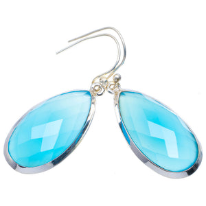 "Natural Chalcedony Handmade Unique 925 Sterling Silver Earrings 1.75"" A4210"