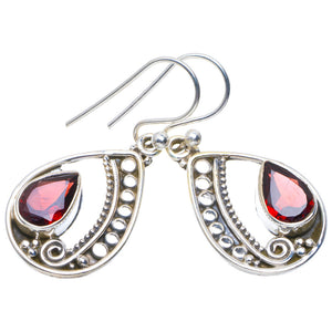 "Natural Garnet Handmade Unique 925 Sterling Silver Earrings 1.25"" A4224"
