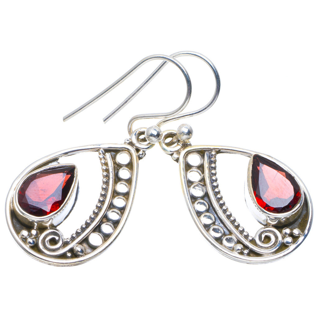 Natural Garnet Handmade Unique 925 Sterling Silver Earrings 1.25