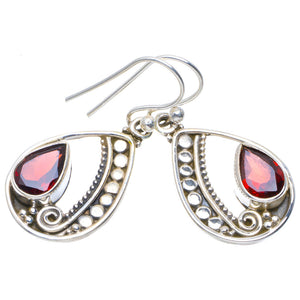 "Natural Garnet Handmade Unique 925 Sterling Silver Earrings 1.25"" A4225"
