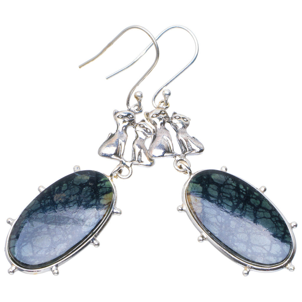 Natural Picasso Jasper Handmade Unique 925 Sterling Silver Earrings 2.5