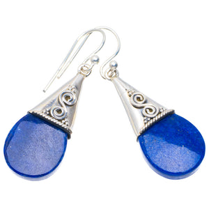 "Natural Lapis Lazuli Handmade Unique 925 Sterling Silver Earrings 1.75"" A4243"
