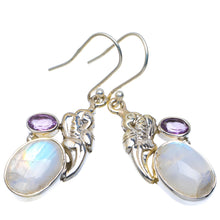 "Natural Rainbow Moonstone and Amethyst Handmade Unique 925 Sterling Silver Earrings 1.75"" A4248"