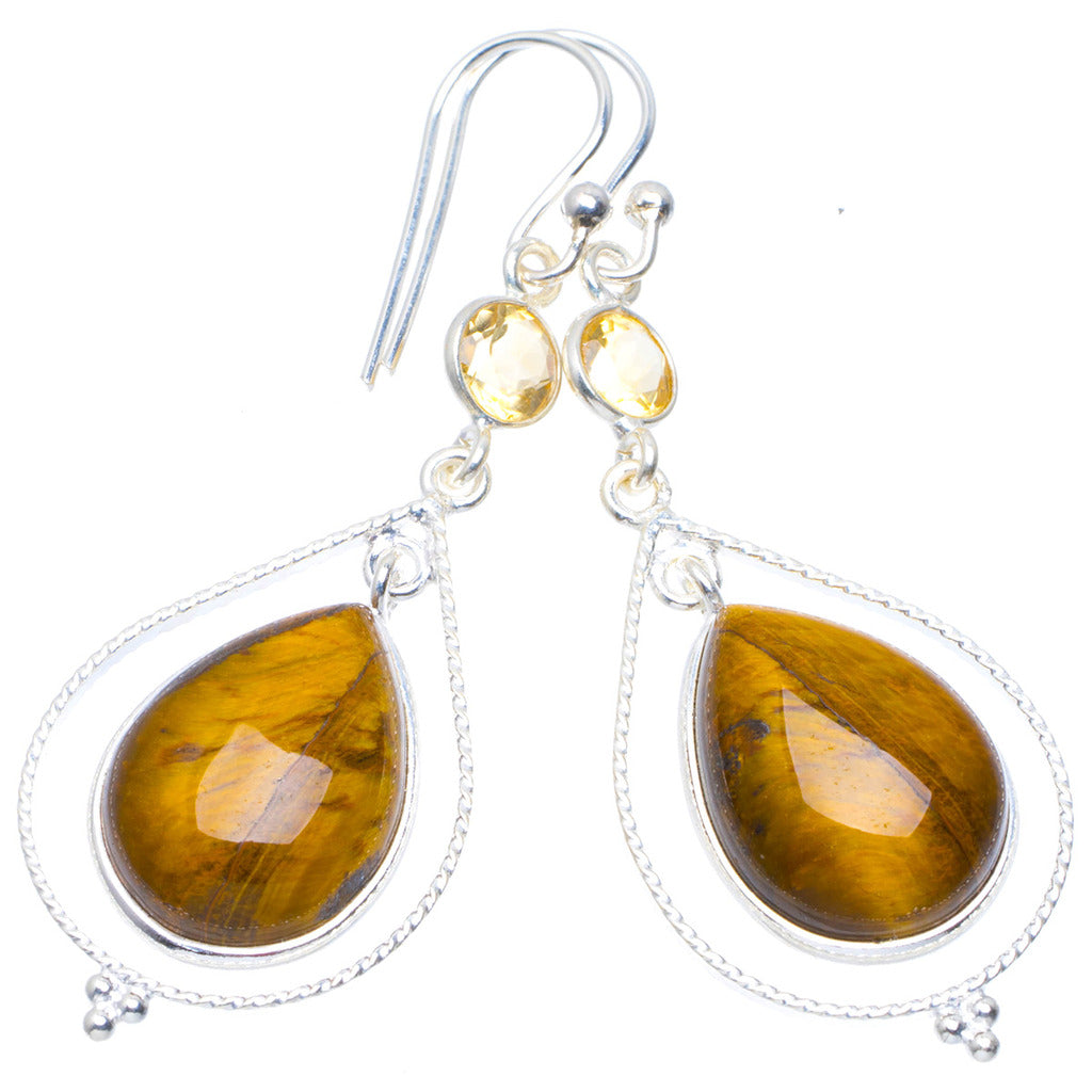 Natural Tiger Eye and Citrine Handmade Unique 925 Sterling Silver Earrings 2
