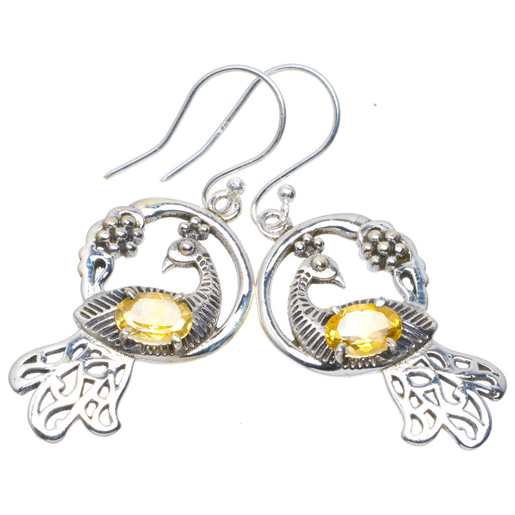 Natural Citrine Handmade Unique 925 Sterling Silver Earrings 1.75