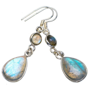 "Natural Blue Fire Labradorite Handmade Unique 925 Sterling Silver Earrings 1.75"" A4291"