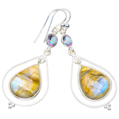 Natural Labradorite and Mystical Topaz Handmade Unique 925 Sterling Silver Earrings 2
