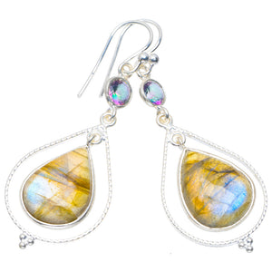 "Natural Labradorite and Mystical Topaz Handmade Unique 925 Sterling Silver Earrings 2"" A4297"