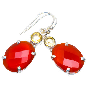 "Natural Carnelian and Citrine Handmade Unique 925 Sterling Silver Earrings 1.5"" A4299"