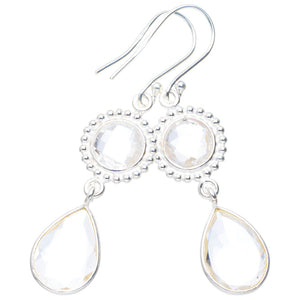 "Natural White Topaz Handmade Unique 925 Sterling Silver Earrings 2"" A0600"