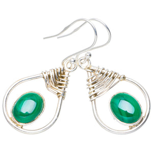 "Natural Malachite Handmade Unique 925 Sterling Silver Earrings 1.5"" A0863"