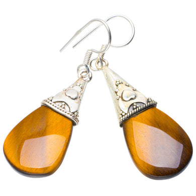 Natural Tiger Eye Handmade Unique 925 Sterling Silver Earrings 1.75