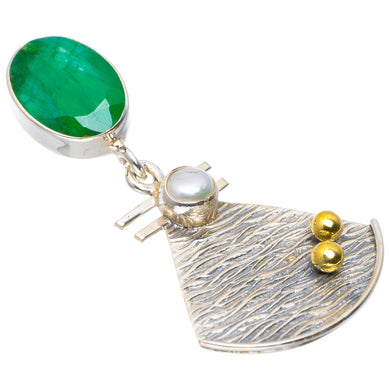 Natural Two Tones Emerald and River Pearl Handmade Unique 925 Sterling Silver Pendant 1.75
