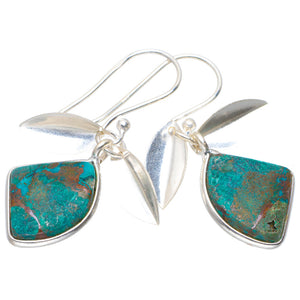 "Natural Chrysocolla Handmade Unique 925 Sterling Silver Earrings 1.25"" A2059"