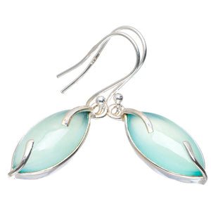 "Natural Chalcedony Handmade Unique 925 Sterling Silver Earrings 1.5"" A2069"