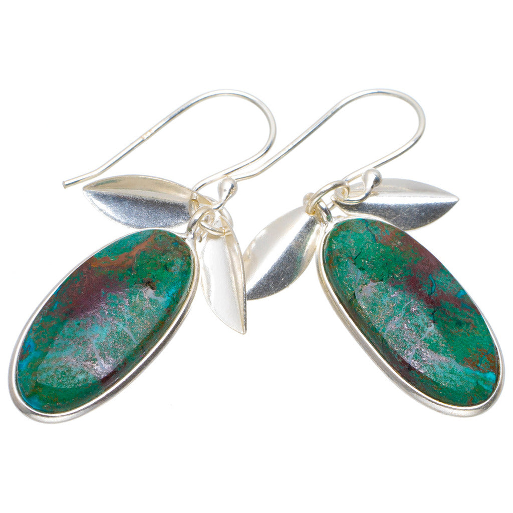 Natural Chrysocolla Handmade Unique 925 Sterling Silver Earrings 1.75