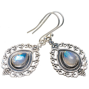 "Natural Rainbow Moonstone Handmade Unique 925 Sterling Silver Earrings 1.75"" A2157"