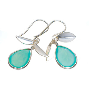 "Natural Chalcedony Handmade Unique 925 Sterling Silver Earrings 1.25"" A2170"